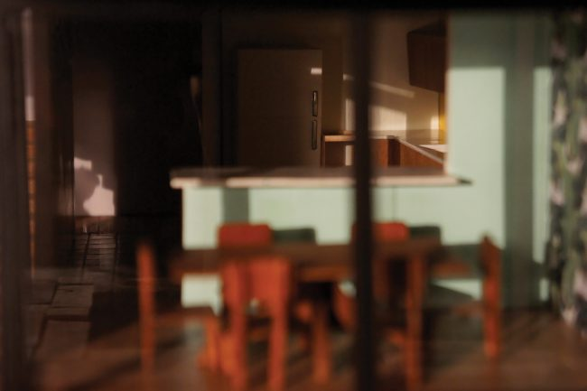Photo of the kitchen of a miniature built house.