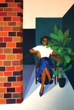 Oil painting of a young black woman sitting on a porch, partially concealed by a plant.
