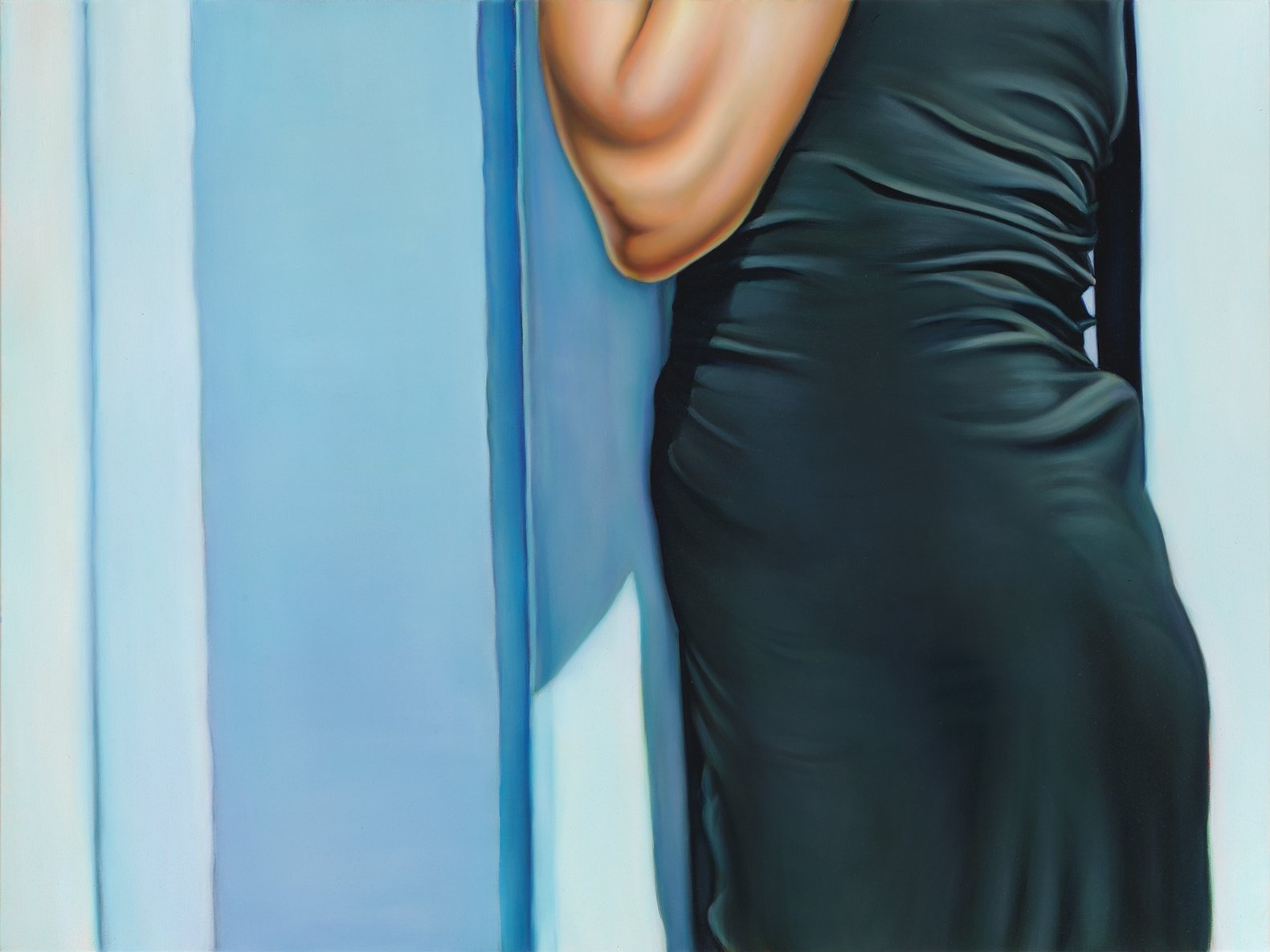 Close-up painting of a woman's torso in a cocktail dress, pressing against the bars of the Mexican-American border fence