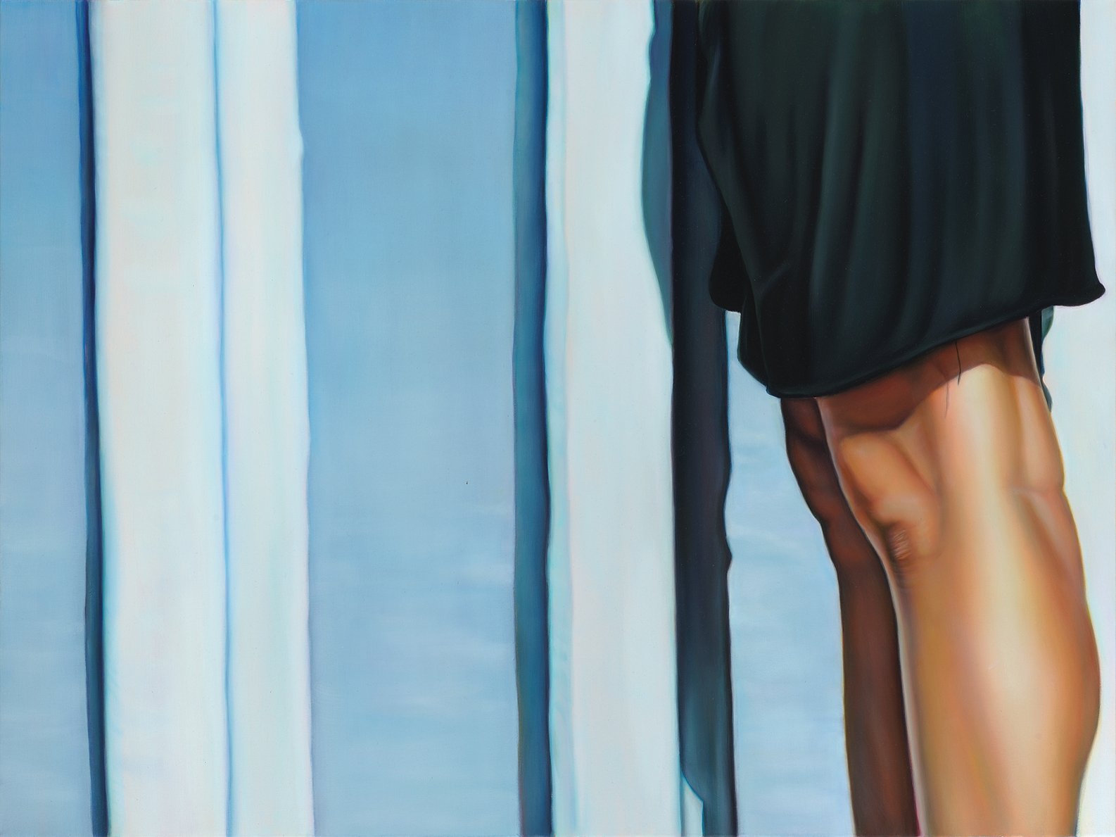 Painting of a woman's legs, close up and clothed in a black skirt, standing against the Mexican-American border wall