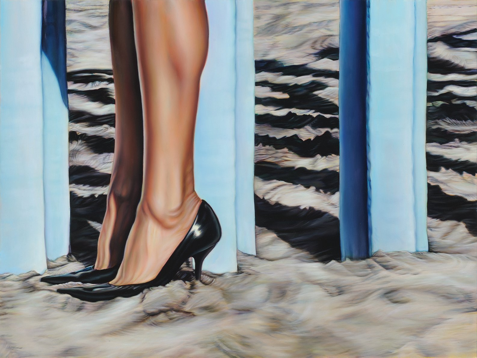 Close-up painting of a woman's legs and feet in black heels, standing in the sand next to the Mexican-American border fence