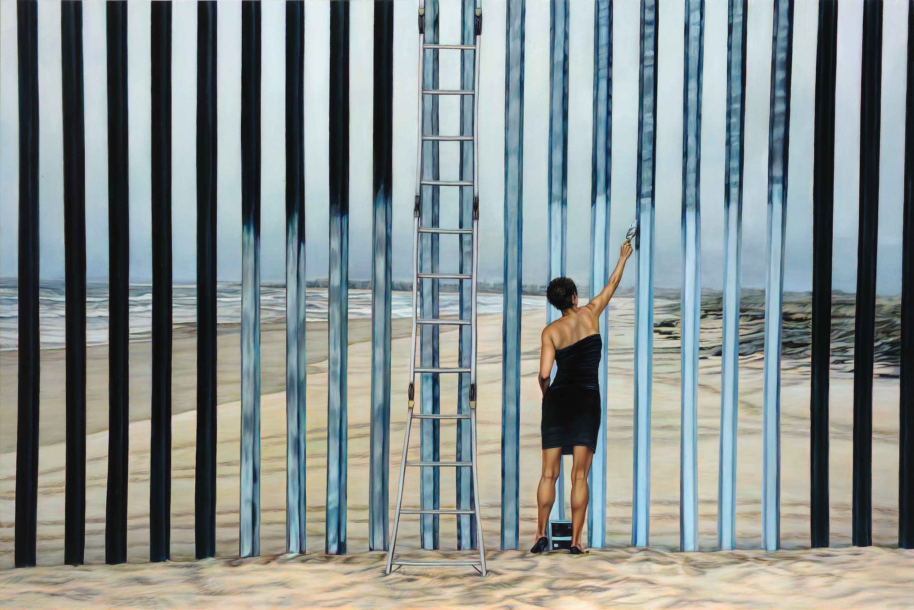 "Painting of a woman in a cocktail dress using sky-colored paint on her brush to ""erase"" the black border fence"