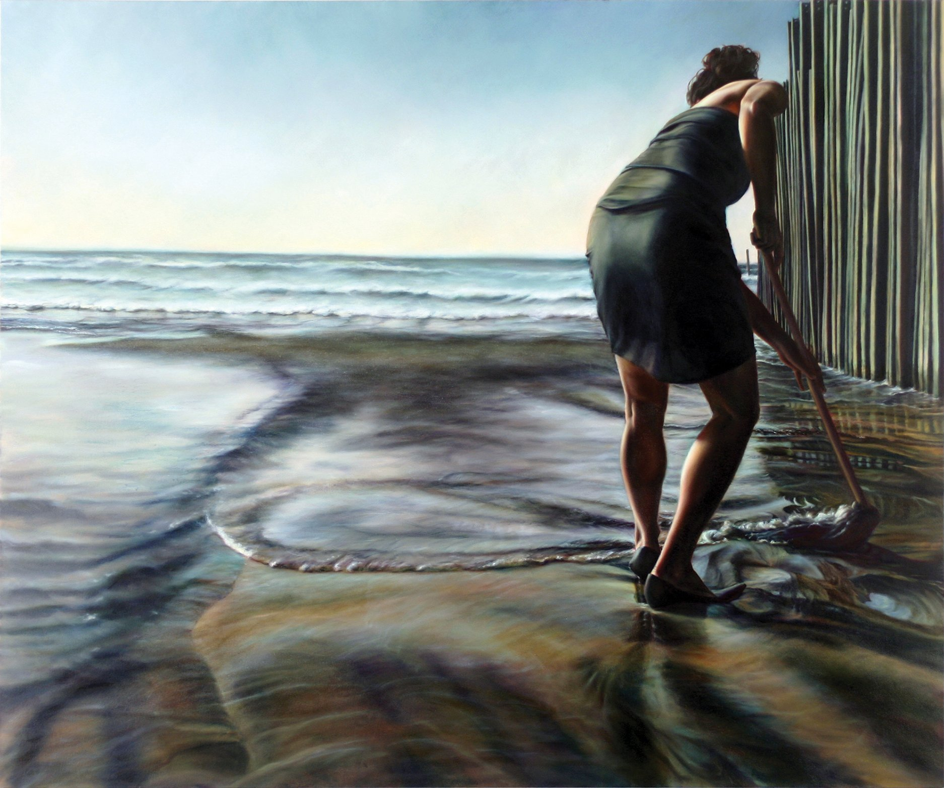 Painting of a woman in a cocktail dress mopping the ocean shore next to the Mexican-American border fence