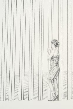 Drawing of a woman in a cocktail dress standing between the bars of the border wall, her face turned away