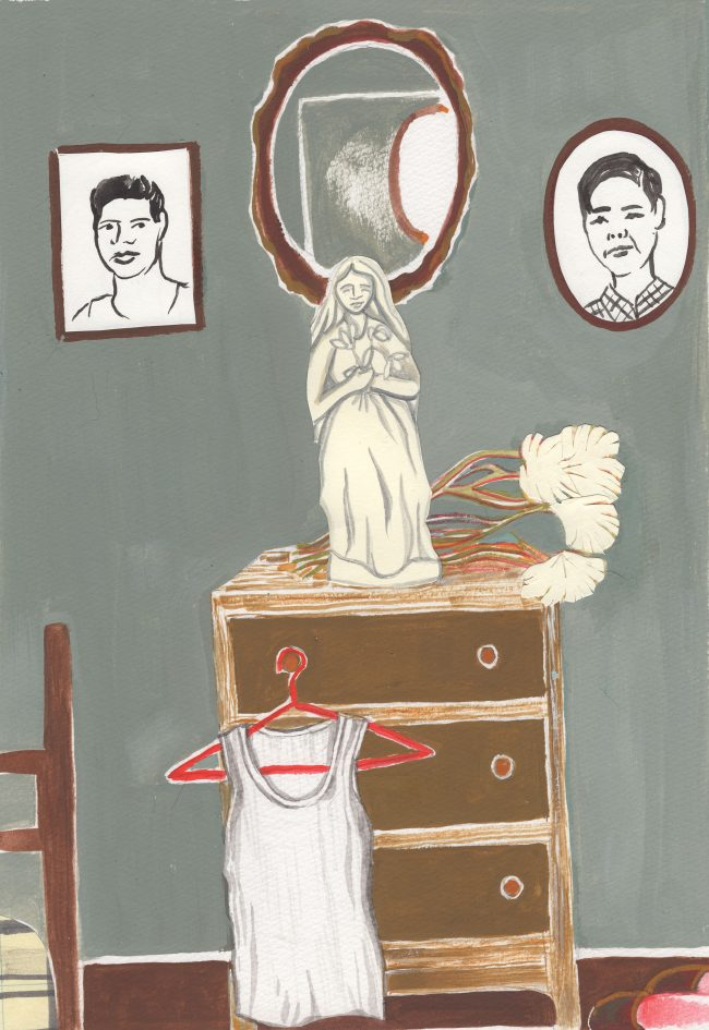 A painting of a low bedroom dresser against a grey wall, with a religious statue on the dresser and, above that, two photos of men.