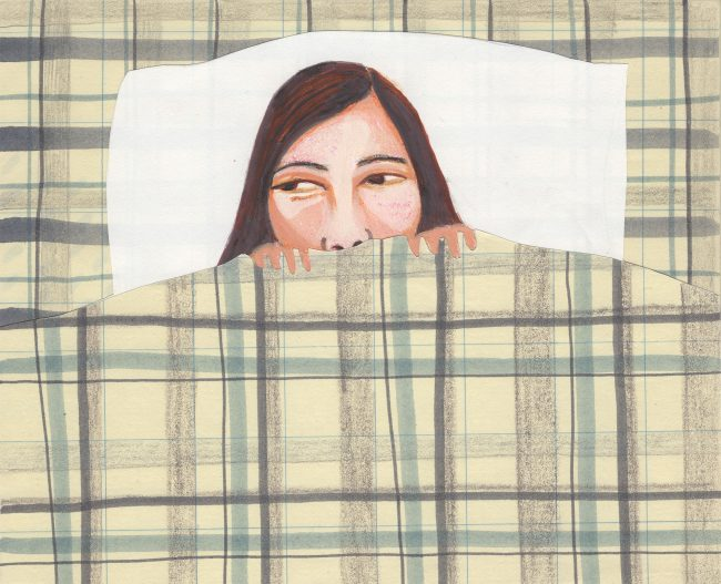 A colored drawing, birds-eye-view of a woman in bed, checkered sheets pulled up to her nose.