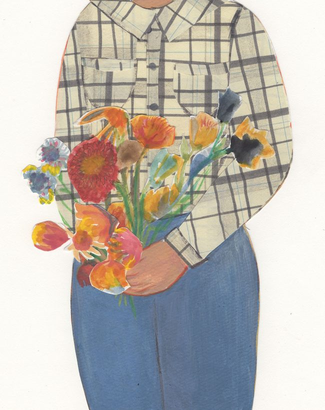 A colored drawing of a person in jeans and a checkered shirt holding a bouquet of flowers, zoomed in so we see only neck to knee.