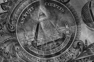 A black-and-white picture of the center of a dollar bill.