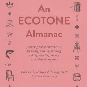 The cover of An Ecotone Almanac. The title is shown in red on a coral-colored ground, with various small letterpress-printed ornaments and cuts arranged in a rectangle around it