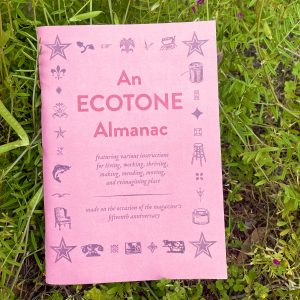 A photograph of An Ecotone Almanac, a small coral-colored book, among vetch
