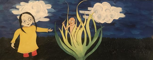 In this illustration, a girl in a yellow dress looks at the child that has grown from and stands in a wild green plant, in a field under a blue sky and clouds