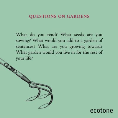 Decorative digital broadside. Title reads: Questions on Gardens. Text reads: What do you tend? What seeds are you sowing? What would you add to a garden of sentences? What are you growing toward? What garden would you live in for the rest of your life?